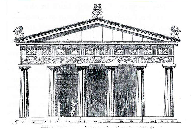 Temple of Athena, elevation by Francis Bacon